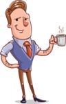 Cartoon Teacher Vector Character - With a Coffee