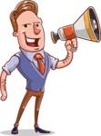 Cartoon Teacher Vector Character - Loudspeaker