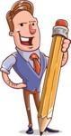 Cartoon Teacher Vector Character - With a Pencil