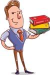 Cartoon Teacher Vector Character - With Books