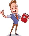 Cartoon Teacher Vector Character - Recommending a Book