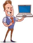 Cartoon Teacher Vector Character - With a Laptop