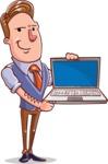 Cartoon Teacher Vector Character - Presenting on a Laptop
