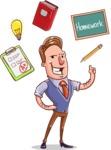 Cartoon Teacher Vector Character - School Elements