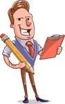 Cartoon Teacher Vector Character - Writing a Note