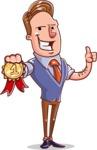 Cartoon Teacher Vector Character - With a Ribbon