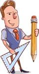 Cartoon Teacher Vector Character - With a Pencil and a Line