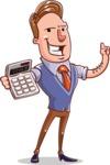 Cartoon Teacher Vector Character - With Calculator