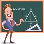 Cartoon Teacher Vector Character - Math Lesson