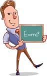 Cartoon Teacher Vector Character - Theory of Relativity