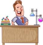 Cartoon Teacher Vector Character - Chemistry Lesson