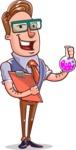Cartoon Teacher Vector Character - With a Flask