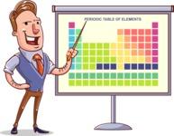 Cartoon Teacher Vector Character - Periodic Table