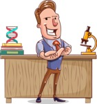Cartoon Teacher Vector Character - Microbiology