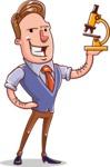 Cartoon Teacher Vector Character - With a Microscope