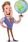 Cartoon Teacher Vector Character - With a Globus