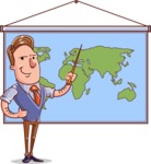 Cartoon Teacher Vector Character - Geography Lesson