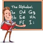Cartoon Teacher Vector Character - Alphabet Lesson