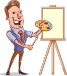 Cartoon Teacher Vector Character - Painting Lesson