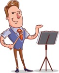 Cartoon Teacher Vector Character - Music Lesson