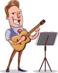 Cartoon Teacher Vector Character - Playing Guitar