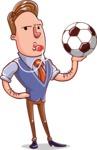 Cartoon Teacher Vector Character - Sport Teacher With a Football