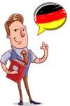 Cartoon Teacher Vector Character - German Language Lessons