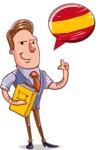 Cartoon Teacher Vector Character - Spanish Language Lessons