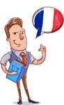 Cartoon Teacher Vector Character - French Language Lessons