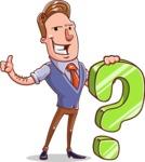 Cartoon Teacher Vector Character - Asking a Question