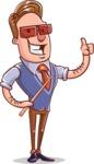Cartoon Teacher Vector Character - With Sunglasses