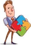Cartoon Teacher Vector Character - Puzzle