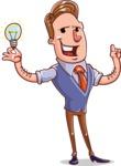 Cartoon Teacher Vector Character - With a Light Bulb
