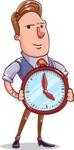 Cartoon Teacher Vector Character - With a Clock