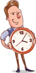 Cartoon Teacher Vector Character - Counting Time