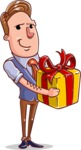 Cartoon Teacher Vector Character - With a Gift