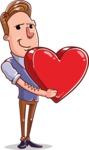 Cartoon Teacher Vector Character - With a Heart