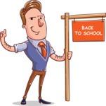 Cartoon Teacher Vector Character - Sign 3