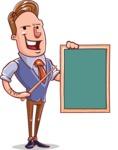 Cartoon Teacher Vector Character - Sign 4