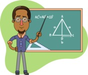 Minimalist African-American Male Teacher Character - Shape 2