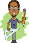Minimalist African-American Male Teacher Character - Shape 6