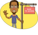 Minimalist African-American Male Teacher Character - Shape 12