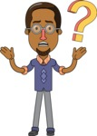 Minimalist African-American Male Teacher Character - Confused