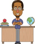 Minimalist African-American Male Teacher Character - With a Desk