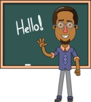 Minimalist African-American Male Teacher Character - Starting a Lesson