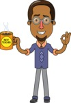 Minimalist African-American Male Teacher Character - With a Coffee