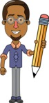 Minimalist African-American Male Teacher Character - With a Pencil