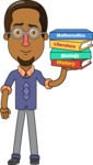Minimalist African-American Male Teacher Character - With Books