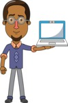 Minimalist African-American Male Teacher Character - With a Laptop