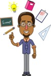 Minimalist African-American Male Teacher Character - School Elements